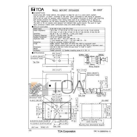 Loa hộp treo tường TOA BS-680F